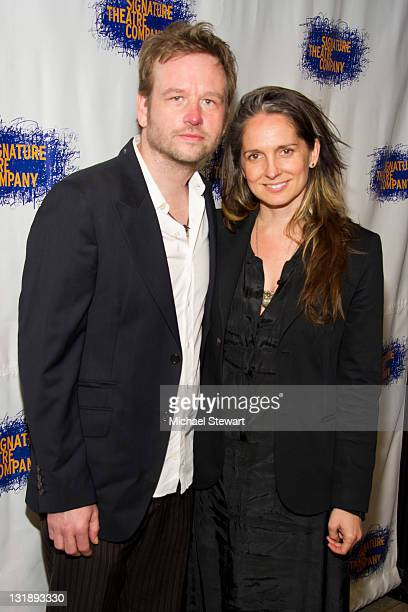 Actor Dallas Roberts and scene designer Christine Jones attend the opening night party for Tony Kushner's The Illusion at the West Bank Cafe on June...
