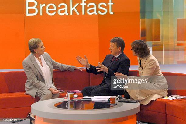 Actor Dame Julie Andrews best known for her role in Mary Poppins appearing on the BBC programme Breakfast interviewed by Bill Turnbull and Kate...