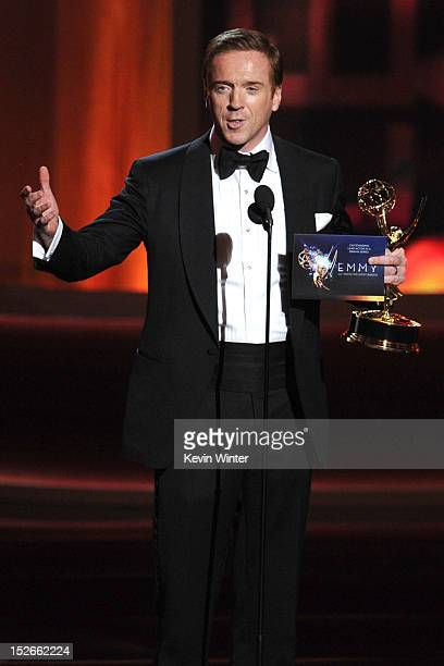 Actor Damian Lewis accepts Outstanding Lead Actor in a Drama Series award for Homeland onstage during the 64th Annual Primetime Emmy Awards at Nokia...