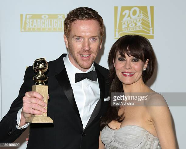 Actor Damian Lewis and his wife Helen McCrory attend the FOX after party for the 70th Golden Globes award show at The Beverly Hilton Hotel on January...