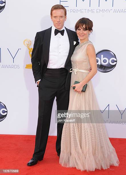 Actor Damian Lewis and wife actress Helen McCrory arrive at the 64th Primetime Emmy Awards at Nokia Theatre LA Live on September 23 2012 in Los...
