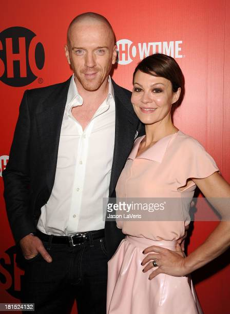 Actor Damian Lewis and wife Helen McCrory attend the Showtime Emmy eve soiree at Sunset Tower on September 21 2013 in West Hollywood California