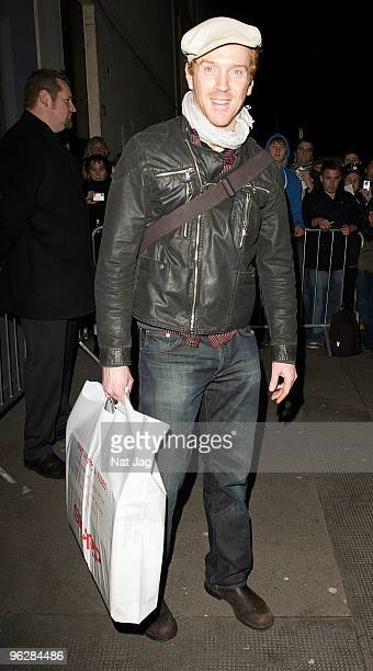 Actor Damian Lewis leaves the comedy theatre on January 30 2010 in London England