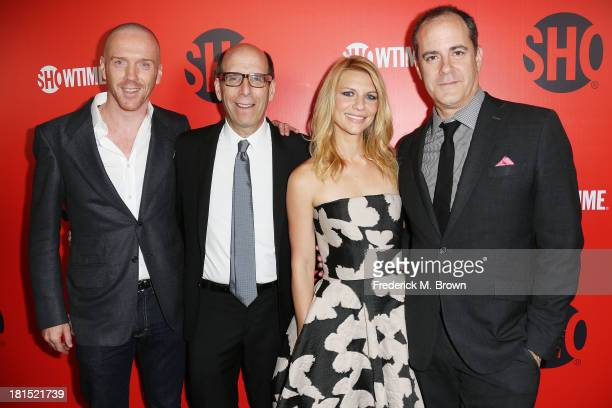 Actor Damian Lewis Matthew C Blank CEO Chairman of the Showtime Network actress Claire Danes and David Nevins President of Entertainment of the...