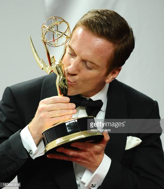 Actor Damian Lewis poses in the press room at the 64th Primetime Emmy Awards at Nokia Theatre LA Live on September 23 2012 in Los Angeles California