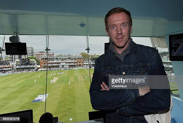 Actor Damian Lewis visits the Media Centre during the 2nd Day of the 1st Investec Test Match between England and New Zealand at Lord'd Cricket Ground...