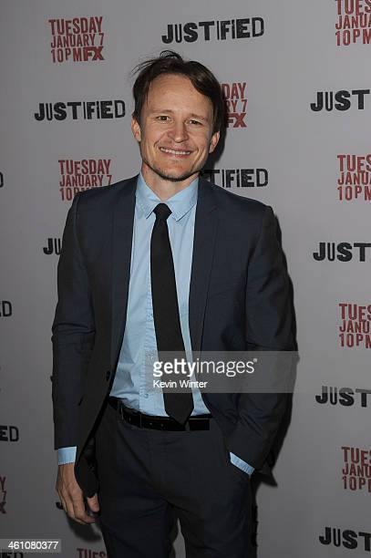 """Actor Damon Herriman attends the season 5 premiere screening of FX's """"Justified"""" at the DGA Theater on January 6, 2014 in Los Angeles, California."""
