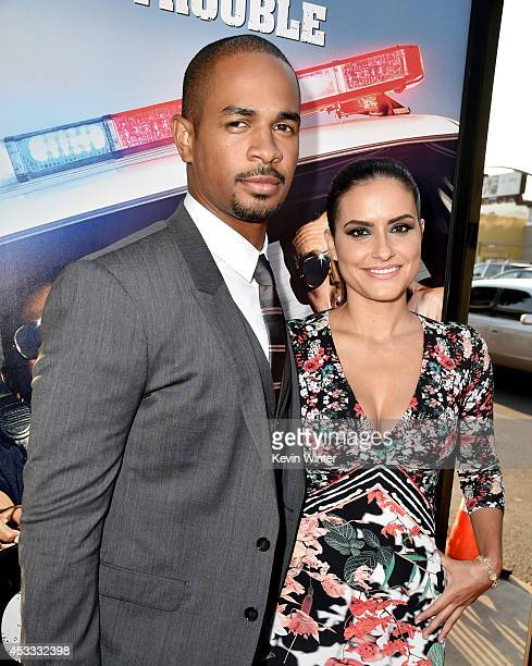 Actor Damon Wayans Jr and Samara Saraiva arrive at the premiere of Twentieth Century Fox's Let's Be Cops at the Cinerama Dome on August 7 2014 in Los...