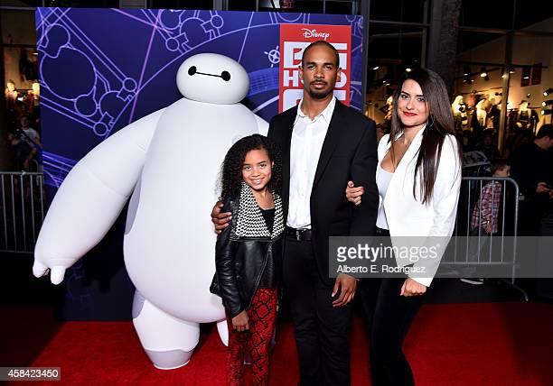 "Actor Damon Wayans Jr and Samara Saraiva with character Baymax attend the Los Angeles Premiere of Walt Disney Animation Studios' ""Big Hero 6 at El..."
