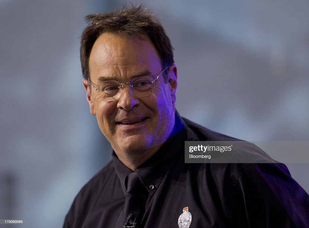 Actor Dan Ackroyd, co-founder of Crystal Head Vodka, prepares for a Bloomberg Television interview in New York, U.S., on Wednesday, July 31, 2013. Founded with artist John Alexander, Crystal Head takes its name from the eerie skull-shaped bottle it comes in. Photographer: Jin Lee/Bloomberg via Getty Images