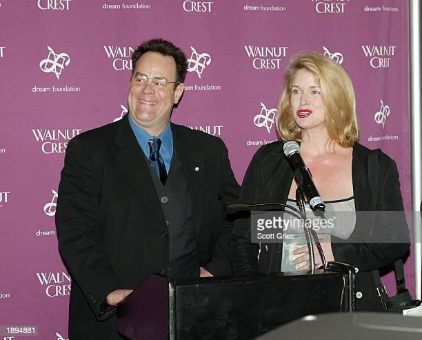 Actor Dan Aykroyd and Donna Dixon attend the Walnut Crest Million Dollar Celebrity Wine Challenge at the W Hotel April 3 2003 in New York City The...