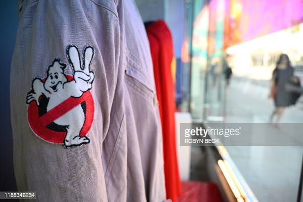 """Actor Dan Aykroyd's original jumpsuit from the 1989 film """"Ghostbusters II"""" is displayed at Julien's Auctions house on December 13, 2019 ahead of..."""