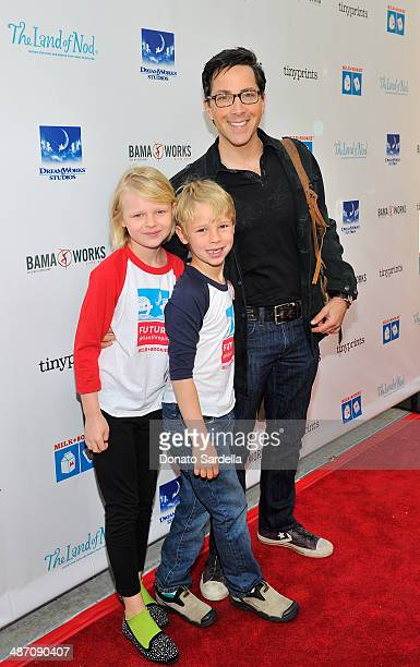Actor Dan Bucatinsky and children Eliza and Jonah attend MILK BOOKIES Fifth Annual Story Time Celebration at Skirball Cultural Center on April 27...