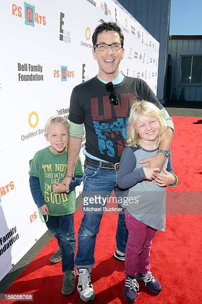 Actor Dan Bucatinsky and children Eliza and Jonah attend the creative arts fair and family day Express Yourself supporting PS ARTS at Barker Hangar...