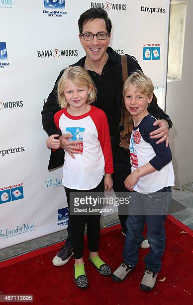 Actor Dan Bucatinsky and children Eliza Bucatinsky and Jonah Bucatinsky attend Milk Bookies 5th Annual Story Time Celebration at the Skirball...