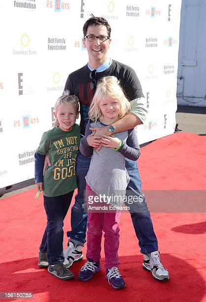 Actor Dan Bucatinsky and his children Jonah and Eliza arrive at the 14th Anniversary of the PS Arts Express Yourself Gala at Barker Hangar on...