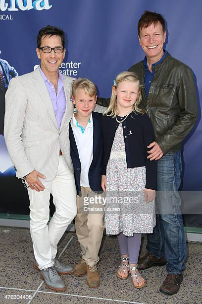 Actor Dan Bucatinsky son Jonah Bucatinsky daughter Eliza Bucatinsky and screenwriter Don Roos attend the opening night of 'Matilda the Musical' at...