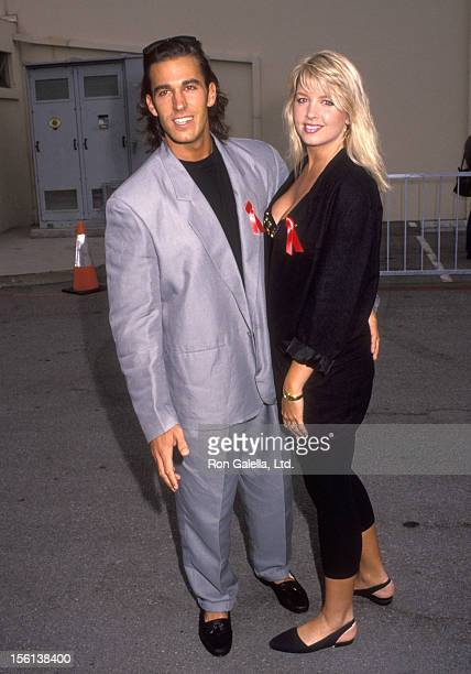 Actor Dan Cortese and Dee Dee Hemby attend the First Annual MTV Movie Awards on June 5 1992 at Walt Disney Studios in Burbank California