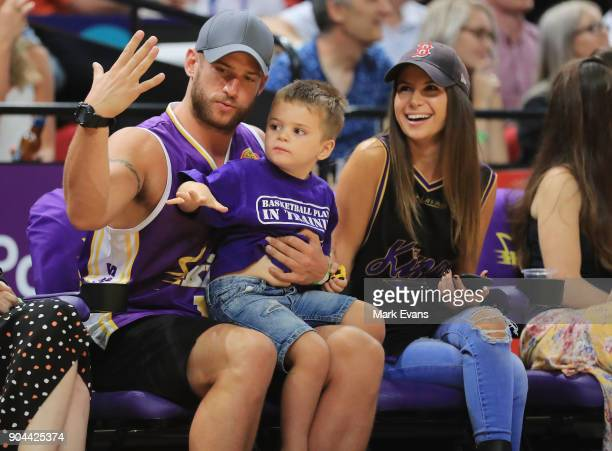 Actor Dan Ewing with son Archer and girlfriend Kat Risteska during the round 14 NBL match between the Sydney Kings and the Adelaide 36ers at Qudos...