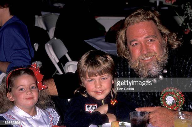 Actor Dan Haggerty daughter Megan and son Dylan attend the 58th Annual Hollywood Christmas Parade on November 27 1989 at the KTLA Studios in...