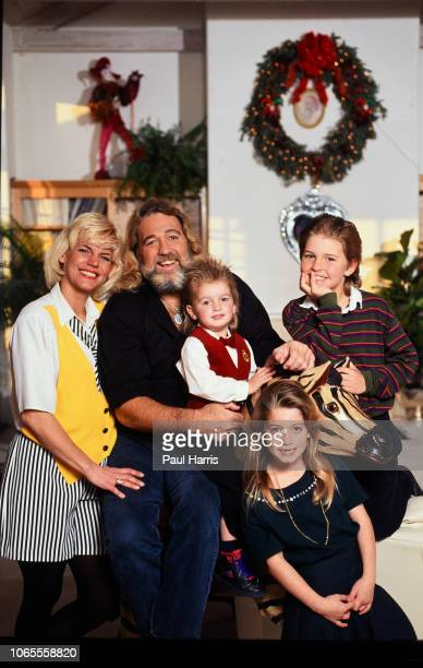 Actor Dan Haggerty famous for his role as Grizzly Adams poses with his wife Samantha younger son Cody daughter Megan and older son Dylan December 12...