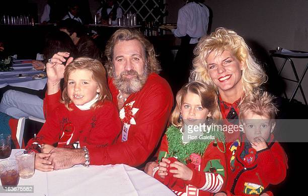 Actor Dan Haggerty wife Samantha son Dylan daughter Megan and son Cody attend the 60th Annual Hollywood Christmas Parade on December 1 1991 at the...