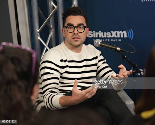 Actor Dan Levy discusses the new season of 'Schitt's Creek' during a SiriusXM 'Unmasked' event hosted by Ron Bennington at the SiriusXM Studios on...