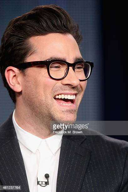 Actor Dan Levy speaks onstage during the 'Schitt's Creek' panel at the Pop Network portion of the 2015 Winter Television Critics Association press...