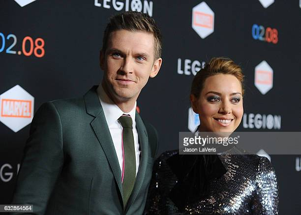 Actor Dan Stevens and actress Aubrey Plaza attend the premiere of Legion at Pacific Design Center on January 26 2017 in West Hollywood California