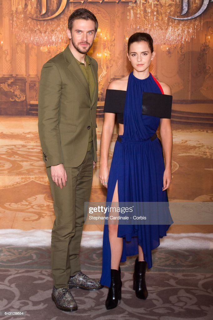 Actor Dan Stevens and actress Emma Watson attend the 'Beast And Beauty - La Belle Et La Bete' Paris Photocall at Hotel Meurice on February 20, 2017 in Paris, France.