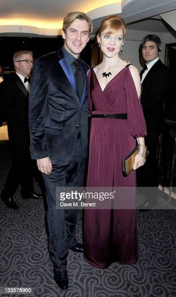 Actor Dan Stevens and Susie Harriet attend a drinks reception during the 57th Evening Standard Theatre Awards at The Savoy Hotel on November 20 2011...