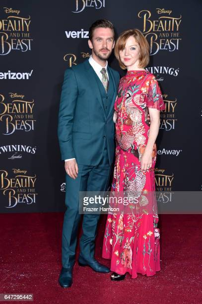Actor Dan Stevens and Susie Stevens attend Disney's Beauty and the Beast premiere at El Capitan Theatre on March 2 2017 in Los Angeles California