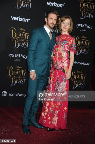 Actor Dan Stevens and wife Susie Stevens attend Disney's 'Beauty and the Beast' premiere at El Capitan Theatre on March 2 2017 in Los Angeles...