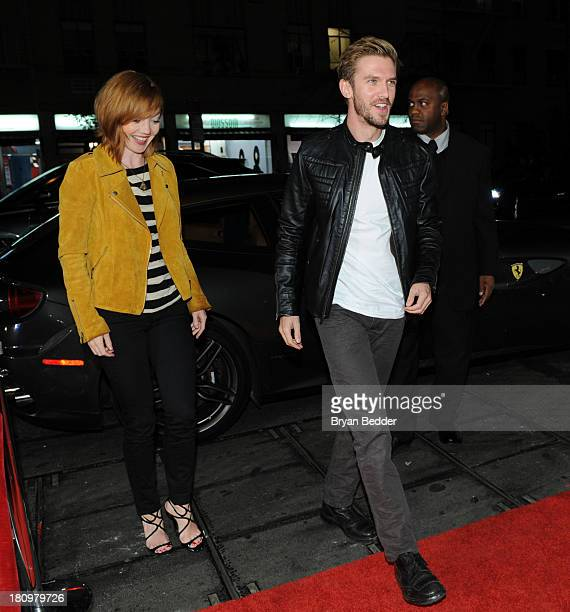 Actor Dan Stevens and wife Susie Stevens attend the Ferrari and The Cinema Society Screening of 'Rush' at Chelsea Clearview Cinemas on September 18...