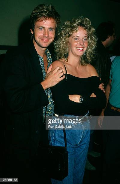Actor Dana Carvey and wife Paula Swaggerman being photographed on August 8 1988 at Ed Debevic's Restaurant in West Hollywood California