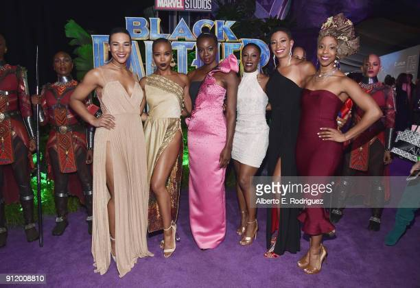 Actor Danai Gurira and 'The Dora Milaje' actors at the Los Angeles World Premiere of Marvel Studios' BLACK PANTHER at Dolby Theatre on January 29...
