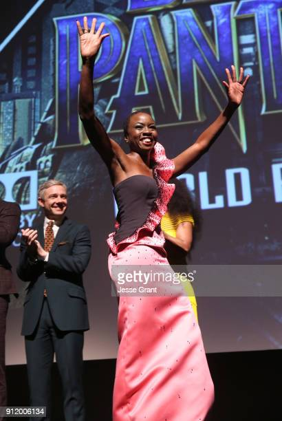 Actor Danai Gurira at the Los Angeles World Premiere of Marvel Studios' BLACK PANTHER at Dolby Theatre on January 29 2018 in Hollywood California