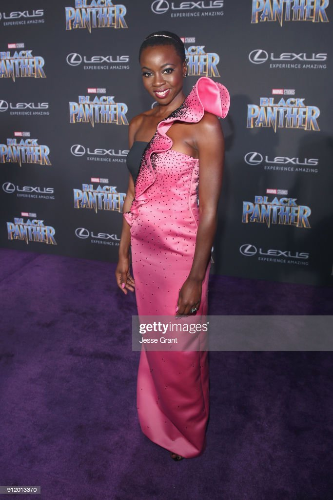 Actor Danai Gurira at the Los Angeles World Premiere of Marvel Studios' BLACK PANTHER at Dolby Theatre on January 29, 2018 in Hollywood, California.