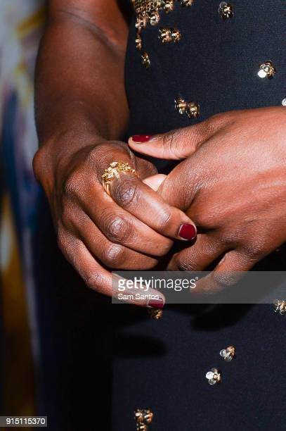 Actor Danai Gurira ring detail attends the Toronto Premiere of 'Black Panther' at Scotiabank Theatre on February 6 2018 in Toronto Canada