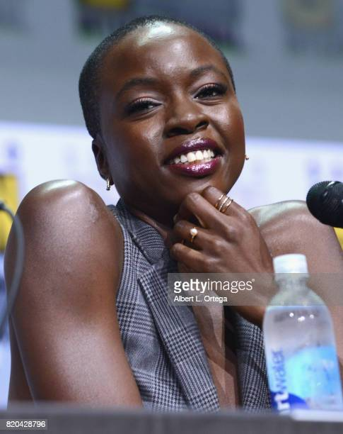 Actor Danai Gurira speaks onstage at ComicCon International 2017 AMC's 'The Walking Dead' panel at San Diego Convention Center on July 21 2017 in San...