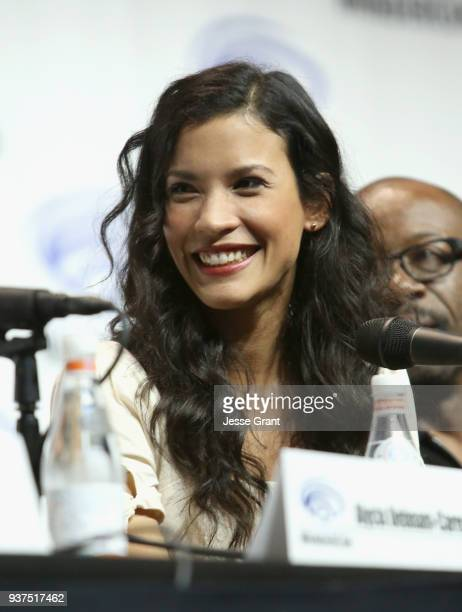Actor Danay Garcia speaks onstage during AMC's 'Fear of the Walking Dead' panel at WonderCon at Anaheim Convention Center on March 24 2018 in Anaheim...