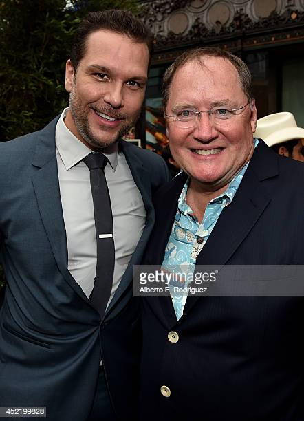 Actor Dane Cook and executive producer John Lasseter attend World Premiere Of Disney's 'Planes Fire Rescue' at the El Capitan Theatre on July 15 2014...