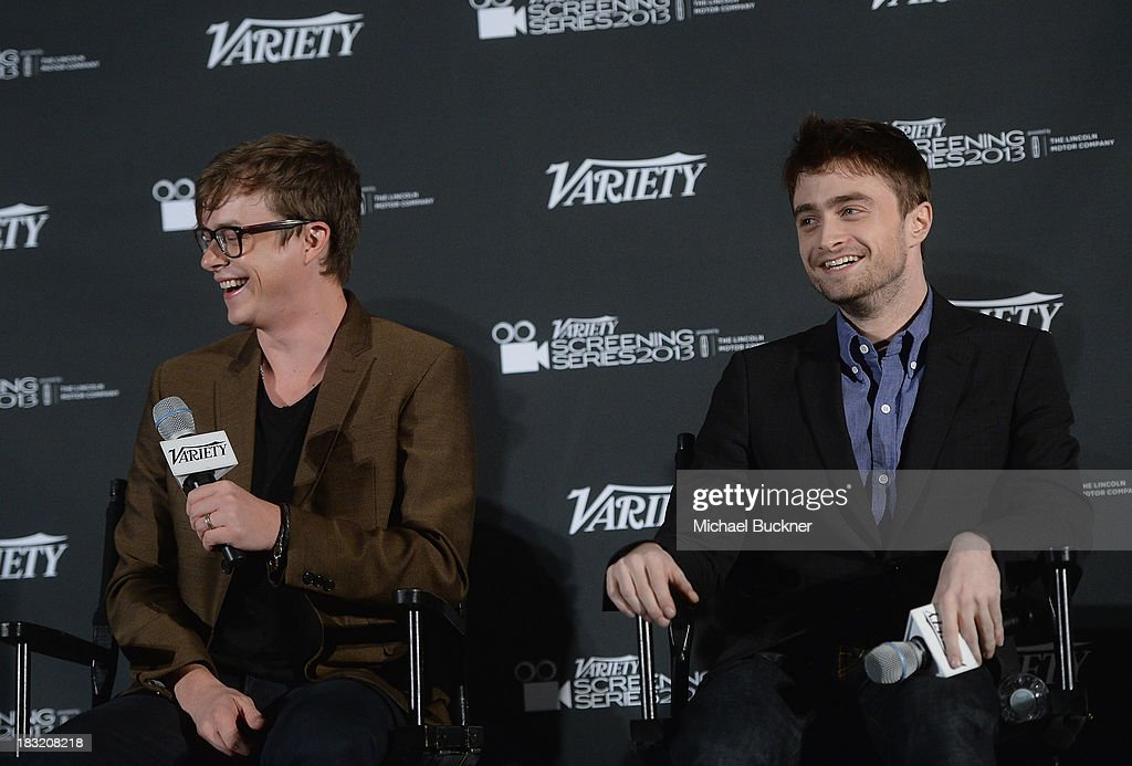 Actor Dane DeHaan (L) and actor Daniel Radcliffe speak at the Q&A for the Variety Screening Series Presents Sony Pictures Classics' 'Kill Your Darlings' at ArcLight Hollywood on October 5, 2013 in Hollywood, California.