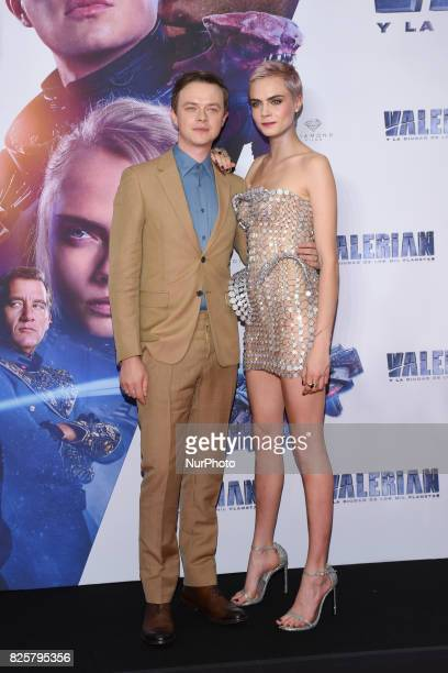Actor Dane DeHaan and actress Cara Delevingne are seen poses during the red carpet of Valerian and the City of a Thousand Planets Mexico City film...