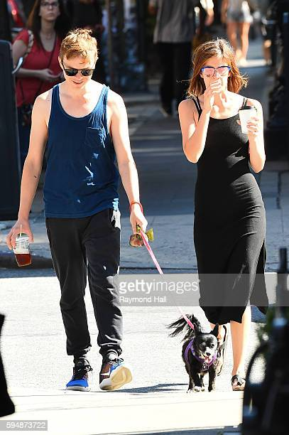 Actor Dane DeHaan and Anna Wood are seen walking there dog in brooklyn on August 24 2016 in New York City