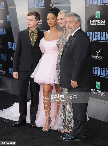 Actor Dane DeHaan singer Rihanna actress Cara Delevingne and director Luc Besson arrive at the Los Angeles Premiere 'Valerian And The City Of A...