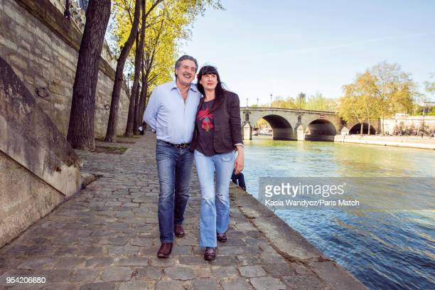 Actor Daniel Auteuil is photographed with his wife Aude for Paris Match on April 19 2018 in Paris France
