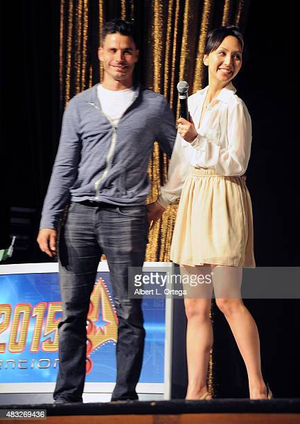 Actor Daniel Bess and his wife actress Linda Park attend the 14th annual official Star Trek convention at the Rio Hotel Casino on August 6 2015 in...