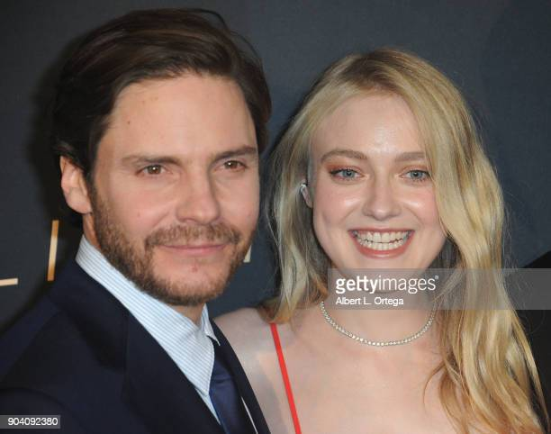 Actor Daniel Brühl and actress Dakota Fanning arrive for the Premiere Of TNT's 'The Alienist' held at Paramount Pictures on January 11 2018 in Los...
