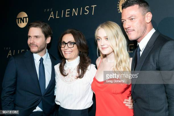 Actor Daniel Brühl Sarah Aubrey actress Dakota Fanning actor Luke Evans and actor Brian Geraghty attend the Premiere Of TNT's 'The Alienist' on...